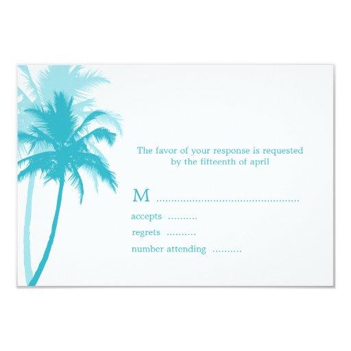 "Palm Trees Tropical Wedding Response Cards 3.5"" X 5"" Invitation Card"