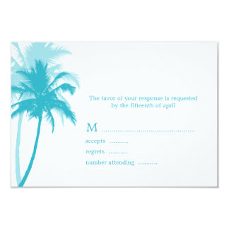Palm Trees Tropical Wedding Response Cards Custom Invitation