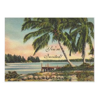palm trees vintage card