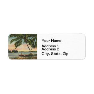 palm trees vintage return address label