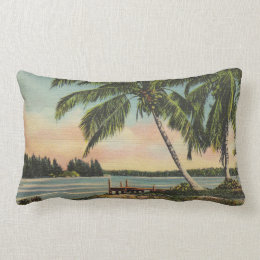 palm trees vintage lumbar pillow