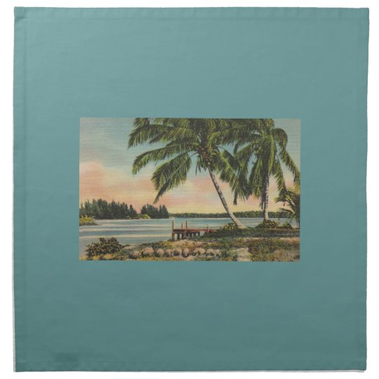 palm trees vintage napkin