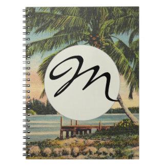 palm trees vintage notebook