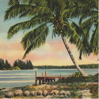 palm trees vintage photo cut out