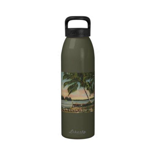 palm trees vintage reusable water bottle