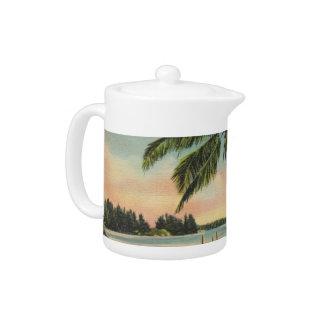 palm trees vintage teapot