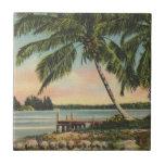palm trees vintage tiles
