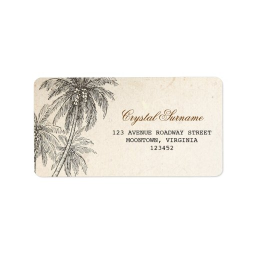 palm trees wedding address labels