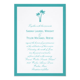 Palm Trees Wedding Invitation - White/Aqua Personalized Announcement