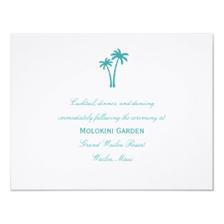 Palm Trees Wedding Reception Card - White/Aqua Custom Announcements