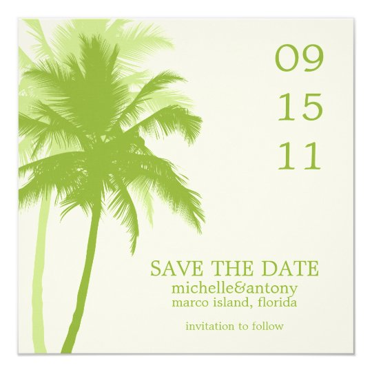 Palm Trees Wedding Save the Date Card
