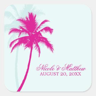 Palm Trees Wedding Square Sticker