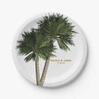 Palm Trees White U0026amp; Gold Elegant Wedding Plates
