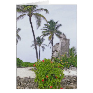 """PALM TREES, WHITE SAND, ROCK WALL& TROPICAL FLOWE CARD"