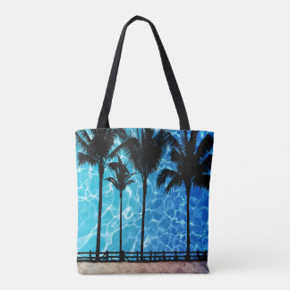 Palm Trees With Water Reflection Graphic Tote Bag