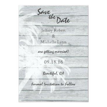 Beach Themed Palm Trees Wood Beach Wedding Save the Date Invite