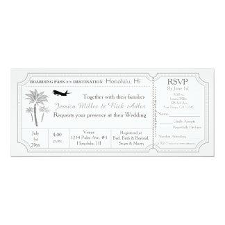 Palm Wedding Destination Ticket Invitation RSVP