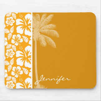 Palm with Amber Yellow Orange Tropical Hibiscus Mouse Pad