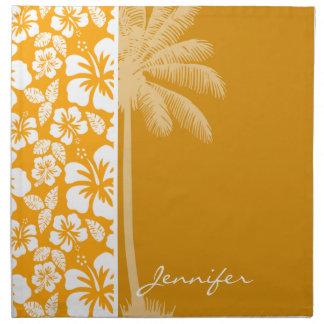 Palm with Amber Yellow Orange Tropical Hibiscus Napkin