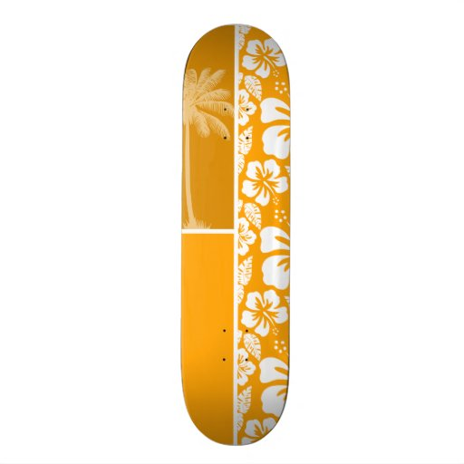 Palm with Amber Yellow Orange Tropical Hibiscus Skate Deck