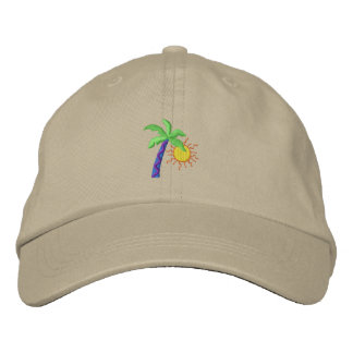 Palm with sun embroidered baseball cap
