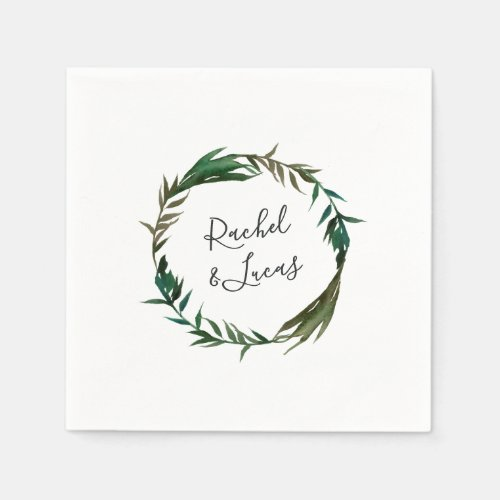 Palm Wreath Personalized Wedding Napkin