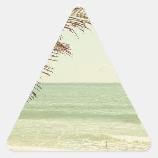 Palma de coco y fotografía en colores pastel de la calcomanías triangulos personalizadas