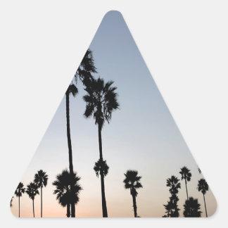 Palma de la playa de Venecia del árbol Calcomanías De Triangulos Personalizadas