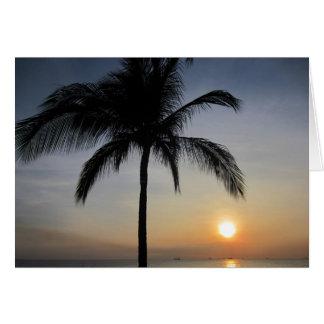 palma de la puesta del sol tarjeta de felicitación