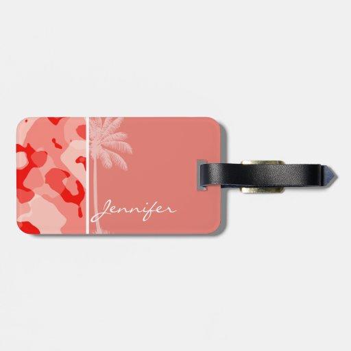 Palma del verano con Camo rosado coralino; Camufla Etiquetas Para Equipaje
