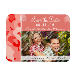 Palma del verano con Camo rosado coralino; Camufla Imán Rectangular