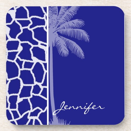 Palma del verano; Estampado de girafa azul marino Posavasos
