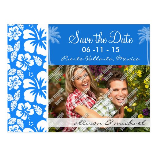 Palma del verano; Hibisco tropical azul azul Postal