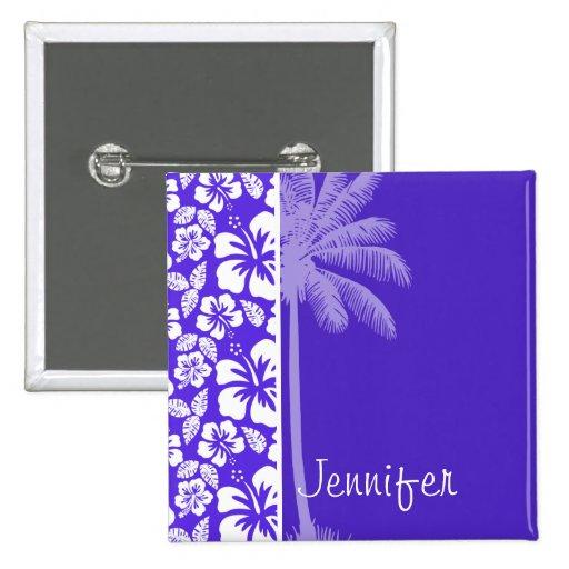 Palma del verano; Hibisco tropical violeta azul Pin Cuadrada 5 Cm