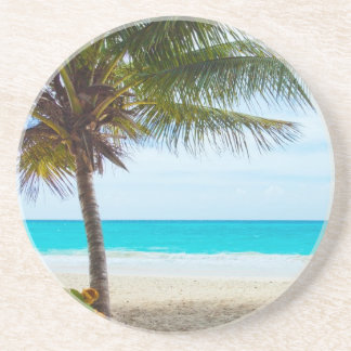 Palma en la playa posavaso para bebida