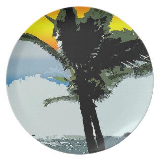 Palma hawaiana y placa abstracta de la puesta del platos para fiestas