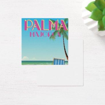 Beach Themed Palma Majorca Beach holiday poster Square Business Card