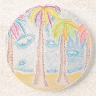 Palma-práctico de costa coloreado posavaso para bebida