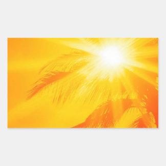 Palma soleada Hawaii del cielo Pegatina Rectangular