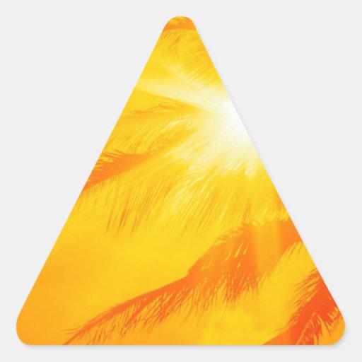 Palma soleada Hawaii del cielo Calcomanías Trianguloes Personalizadas