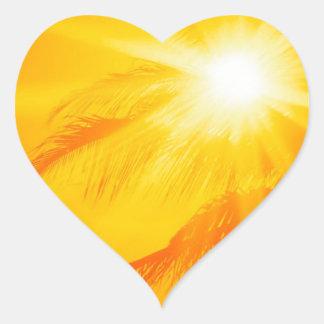 Palma soleada Hawaii del cielo Pegatina En Forma De Corazón