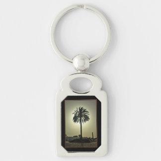Palma soleada llavero plateado rectangular