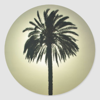 Palma soleada pegatina redonda