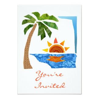"""Palma, Sun y mar Invitación 5"""" X 7"""""""