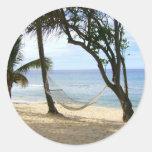 Palma tropical del cielo de Sun de la arena del ag Pegatina Redonda