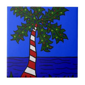 Palma tropical del navidad tejas