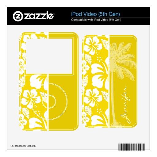Palma tropical hawaiana amarilla de oro skins para iPod video