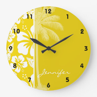 Palma tropical hawaiana amarilla de oro reloj redondo grande