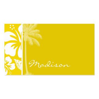 Palma tropical hawaiana amarilla de oro tarjetas de visita