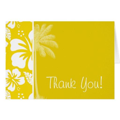 Palma tropical hawaiana amarilla de oro tarjeta pequeña